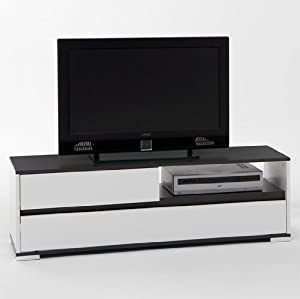 NEAT Modern TV Stand Storage Cabinet Unit with Drawer & Compartment in White and Anthracite Grey Trim by DMF       review and more description