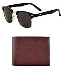 Aventus Combo of Black Clubmasters & Brown Textured Wallet