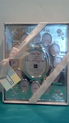 My First Year BABY GIRL 13 Month Hand Polished Frame (Gift Boxed)