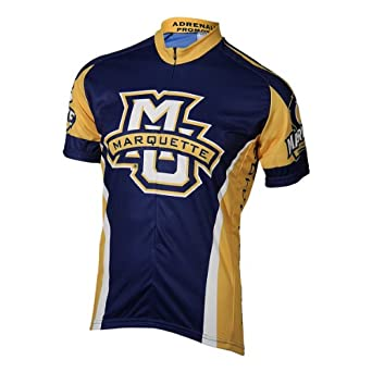 NCAA Marquette Mens Cycling Jersey, Blue Gold by Adrenaline Promotions