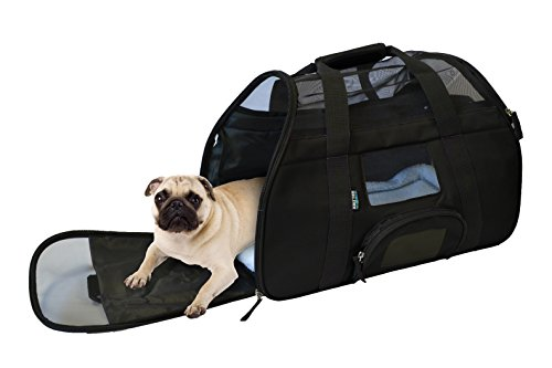 KritterWorld Portable Comfort Soft Sided Airline Approved Pet Travel Carrier Bag for Dog/Cat Small Animals Tote w/ Built-in Collar Buckle & Removable Fleece Bed - Black