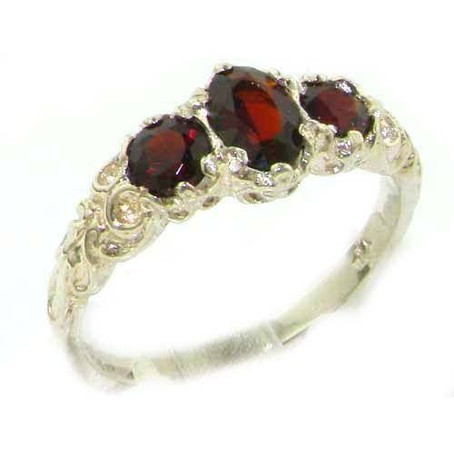 Ladies Solid Sterling Silver Natural Garnet English Victorian Trilogy Ring - Size 12 - Finger Sizes 5 to 12 Available - Suitable as an Anniversary ring, Engagement ring, Eternity ring, or Promise ring