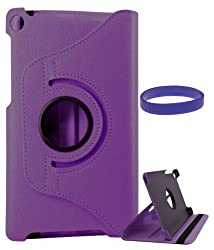 DMG Full 360 Rotating Stand Cover Case for ASUS Google Nexus 7 2013 Edition with DMG Wristband (Purple)