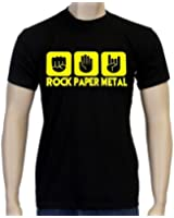 Coole-Fun-T-Shirts Herren T-Shirt Rock Paper Heavy Metal