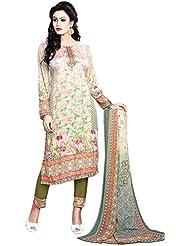 Justkartit Women's Multi Colour Unstitched Resham Crepe Floral Printed Salwar Kameez / Exclusive Printed Salwar...