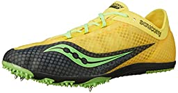 Saucony Men\'s Endorphin Track Spike Racing Shoe, Yellow/Black/Slime, 9.5 M US