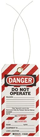 "Brady Two-Part Perforated ""Danger"" Tag, Cardstock, 5-3/4"" Height, 3"" Width"