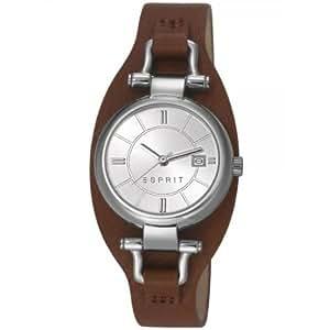 Esprit - ES106782002 - Montre Femme - Quartz Analogique - Cadran Argent - Bracelet Cuir Marron