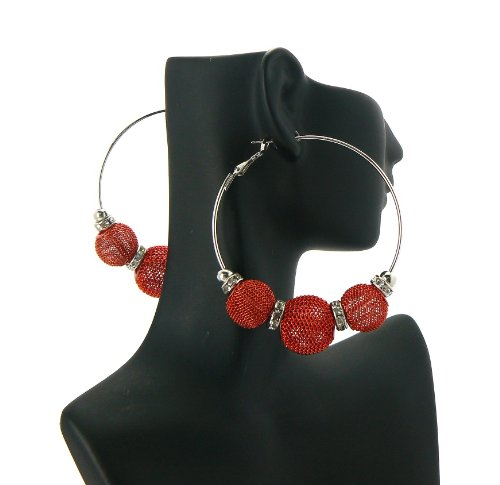 Red Basketball Wives Poparazzi Earrings with 3 Shamballa Disco Balls and Iced Out Mini Loops Lady Gaga Paparazzi