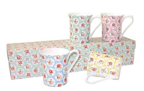 Cath Kidston Pack of 4 Ditsy Provence Mug Giftset, Fine Bone China