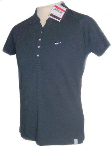 NIKE LADIES POLO SHIRT PIQUE DRI FIT BLACK TENNIS TOP SIZE S M L, 8, 10, 14 NEW