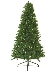 #!Cheap 5' Pre-Lit Canadian Pine Artificial Christmas Tree - Multi LED Lights