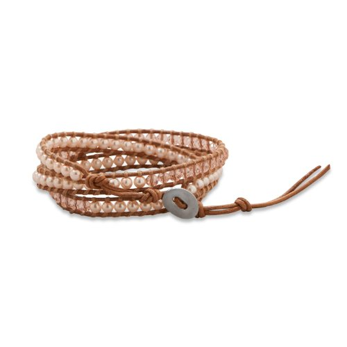 Brown Leather Wrap Bracelet with Pink Pearls and Crystals