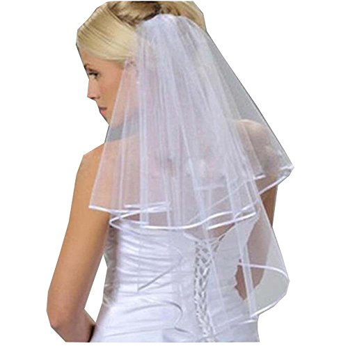 Thrsaeyi Women's White Bridal Veils Two Layer Ribbon Edge Wedding Veil