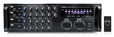 Pyle PMXAKB1000 Bluetooth 1000-Watt Karaoke Mixer with Two Microphone Inputs, RCA Audio/Video and Rack Mountable