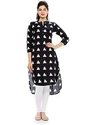 Naksh Jaipur Long Short Triangle Print Stand Collared Kurta
