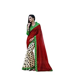 Status Red & Off White Color Printed Saree On Bhagalpuri Silk Fabric. - B00O28Q0QY