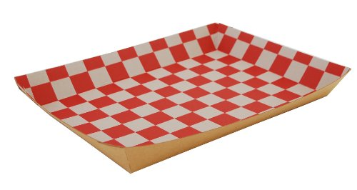 Southern Champion Tray 0590 Kraft Paperboard Red Checkerboard Interior Nested Lunch Tray, 10-1/2