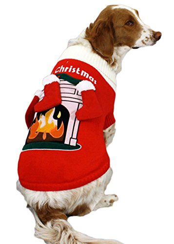 Fireplace Dog Sweater with 3-D Stockings - Christmas Dog Sweater (Small/Medium) By Festified