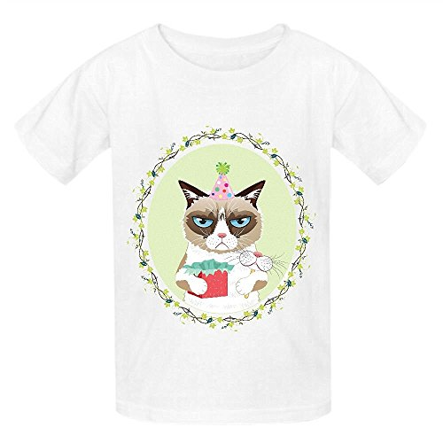 Grumpy Cat Syb Boys' Crew Neck Print Tee White (Z Clip Le Mans compare prices)