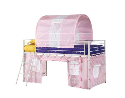 Furniture Of America Fun Metal Loft Bed With Tent Style Design, Twin, Pink Tent front-1050585
