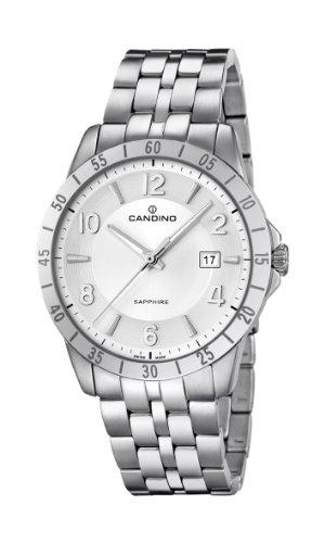 Candino C4513/4 - Reloj analógico de cuarzo para hombre, correa de acero inoxidable color plateado (agujas luminiscentes)