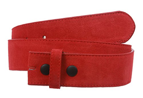 "1 1/2"" Snap On Suede Leather Belt Strap Color: Red Size: S - 30"
