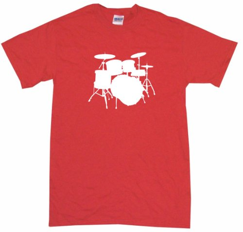 Drum Set Logo Drumset Men'S Tee Shirt Medium-Red