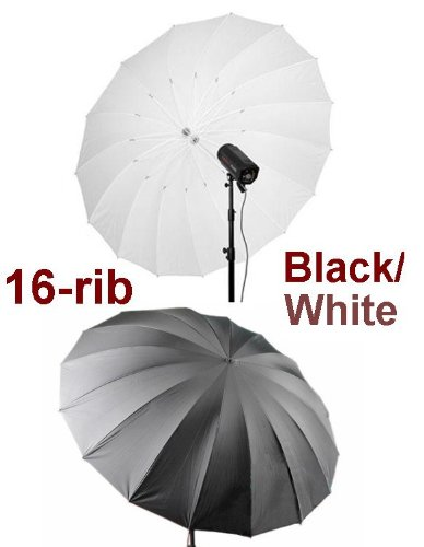 "Ardinbir 60"" 150cm Black/White 16-Rib Reflective Umbrella for Alienbees, Balcar, Bowens, Elinchrom, Hensel, Photogenic, Norman, White Lightning, Flash Broncolor, Pulso, Broncolor Impact, Visatec, Speedotron, Smith Victor Strobe Flash Light"
