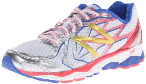 888098227086 - New Balance Women's W1080 Running Shoe,White/Pink,8 D US carousel main 0