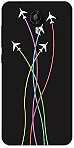 Snoogg Airplane Minimal Flying 2399 Designer Protective Back Case Cover For Micromax Canvas Nitro 3 E455