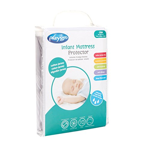 Playgro Crib Mattress Protector Cotton Jersey, White