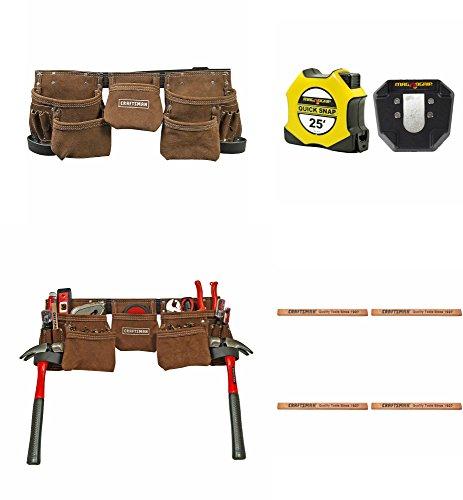 "Craftsman & Stanley Carpenters Bundle PLUS | Craftsman Leather Tool Belt | Stanley 1"" x 25' Magnetic Dual Sided Tape"
