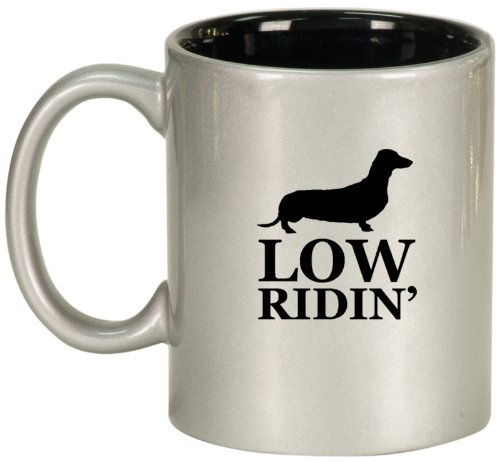 Low Ridin' Dachshund Ceramic Coffee Tea Mug Cup Silver Black