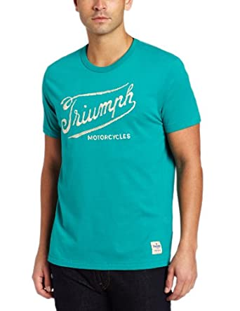 Lucky Brand Men's Triumph Hand Stitch Graphic Tee, Teal Blue, Small