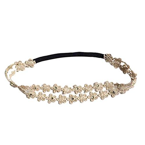 [Baishitop Baby Girls Rhinestone Flowers Headband Hair Accessories(40-54cm) (Gold)] (Glitter Wigs)