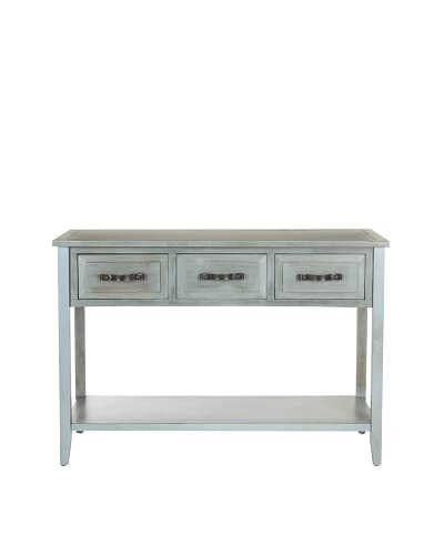 Safavieh Aiden Console Table, Distressed Pale Blue/White