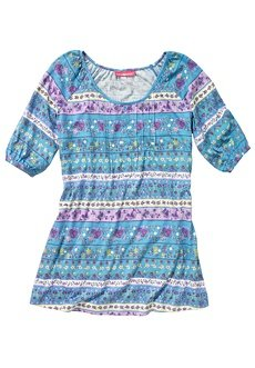 Woman Within Plus Size Floral-Print Knit Tunic (Blue Fog Print,M)