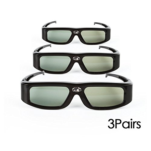 SainSonic 3D Active Shutter Glasses 10M 144Hz Rechargeable Infrared for Acer ViewSonic BenQ Vivitek Optoma 3D DLP-Link Ready Projector (3 Pack, GX Black)