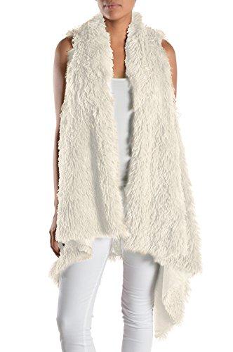 Triple9shop Women's 100% Warm Faux Fur Long Vest Fluffy Cardigan (One Size, White) Faux Fur Vest