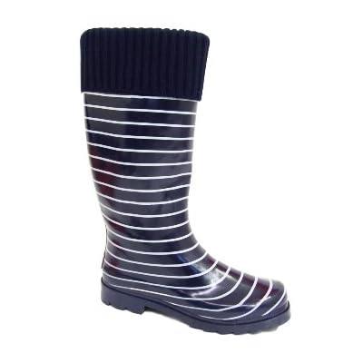 Ladies Navy Nautical Wellies Wellingtons Stripe Sock-Top Rain Boots