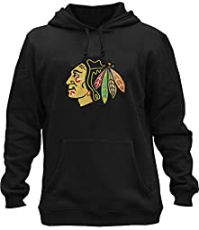 Clor Mens Chicago Blackhawks Super Athletic Pullover Hoodie - Black XL