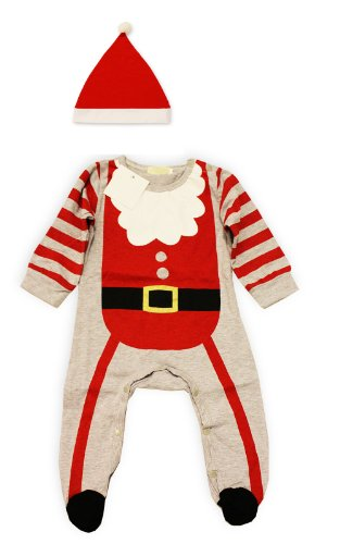 3-6 Months 2-piece Set Christmas Santa Claus Baby Costume Red Romper and Hat