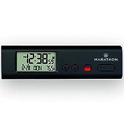 MARATHON CL030045BK Compact Atomic World Clock with LED Emergency Light - Black