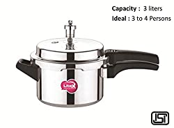 Litex Pressure Cooker (Outer Lid) (3 liters) (silver cooker) (Fully tested) (ISI mark)