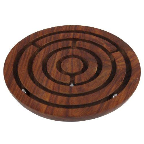 Spiel Gut Auszeichnung Labyrinth handgeschnitzt aus edlem Holz Geduldsspiel aus Indien