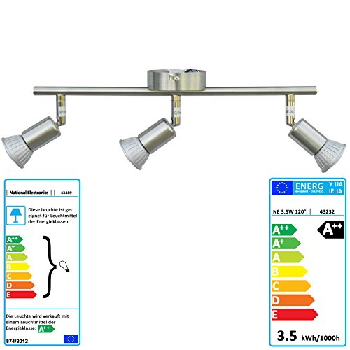National-Electronics-LED-Deckenstrahler-Spot-GU10-inkl-35W-320lm-LED-Leuchtmittel-3-flammig