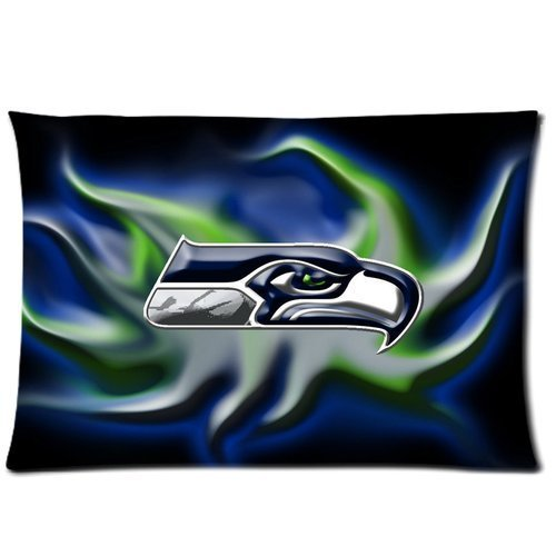 Custom Seattle Seahawks Pattern 05 Pillowcase Cushion Cover Design Standard Size 20X30 Two Sides