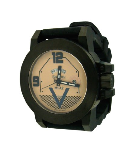 M1A2 Abrams Tank Watch with Black Case and Beige Dial and Black Indicia