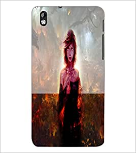PrintDhaba Scary Girl D-2960 Back Case Cover for HTC DESIRE 816 (Multi-Coloured)